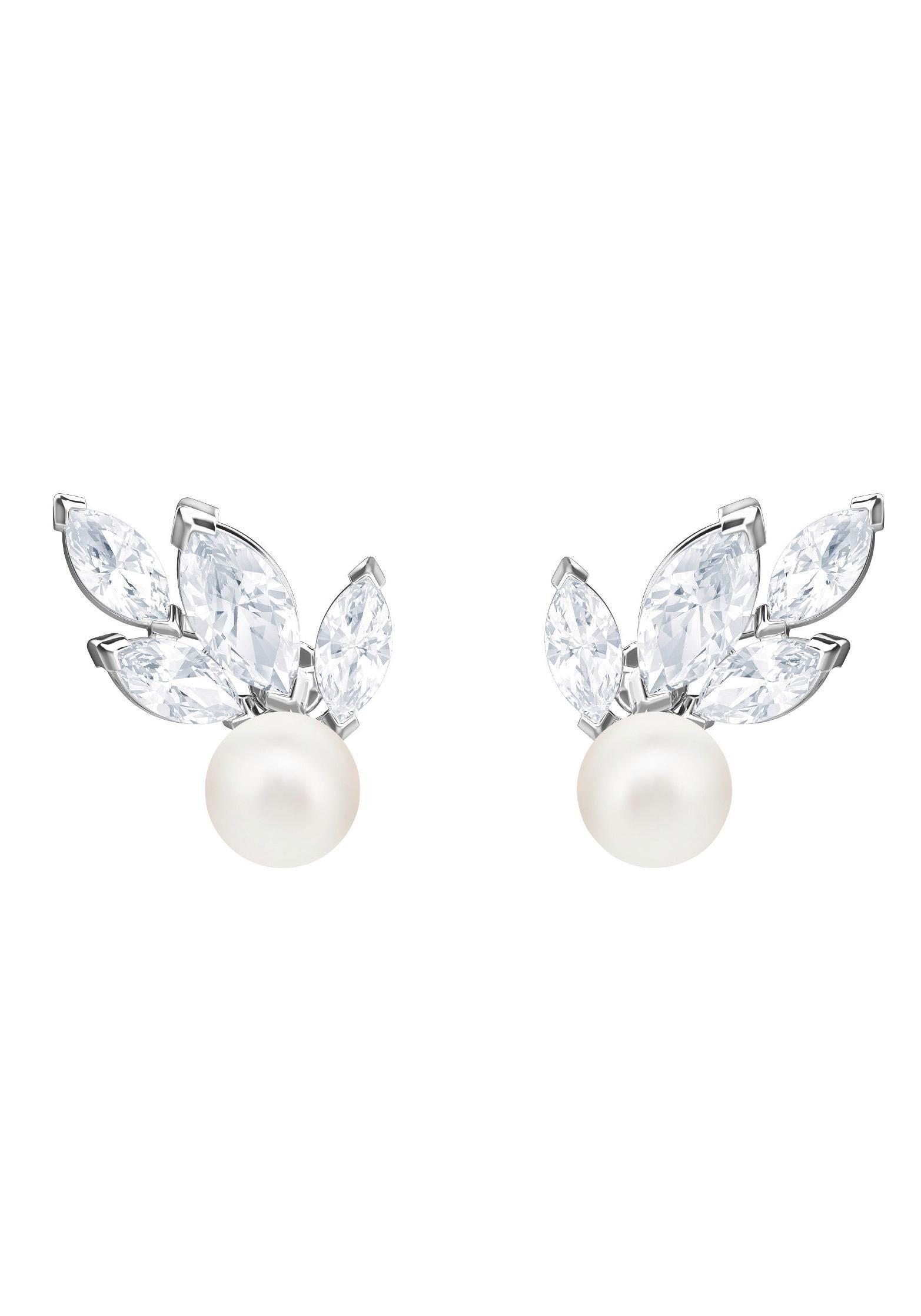 Swarovski Paar Ohrstecker »Louison Pearl Ohrringe, weiss, rhodiniert, 5422683« mit Swarovski® Kristallen und Swarovski® Perlen