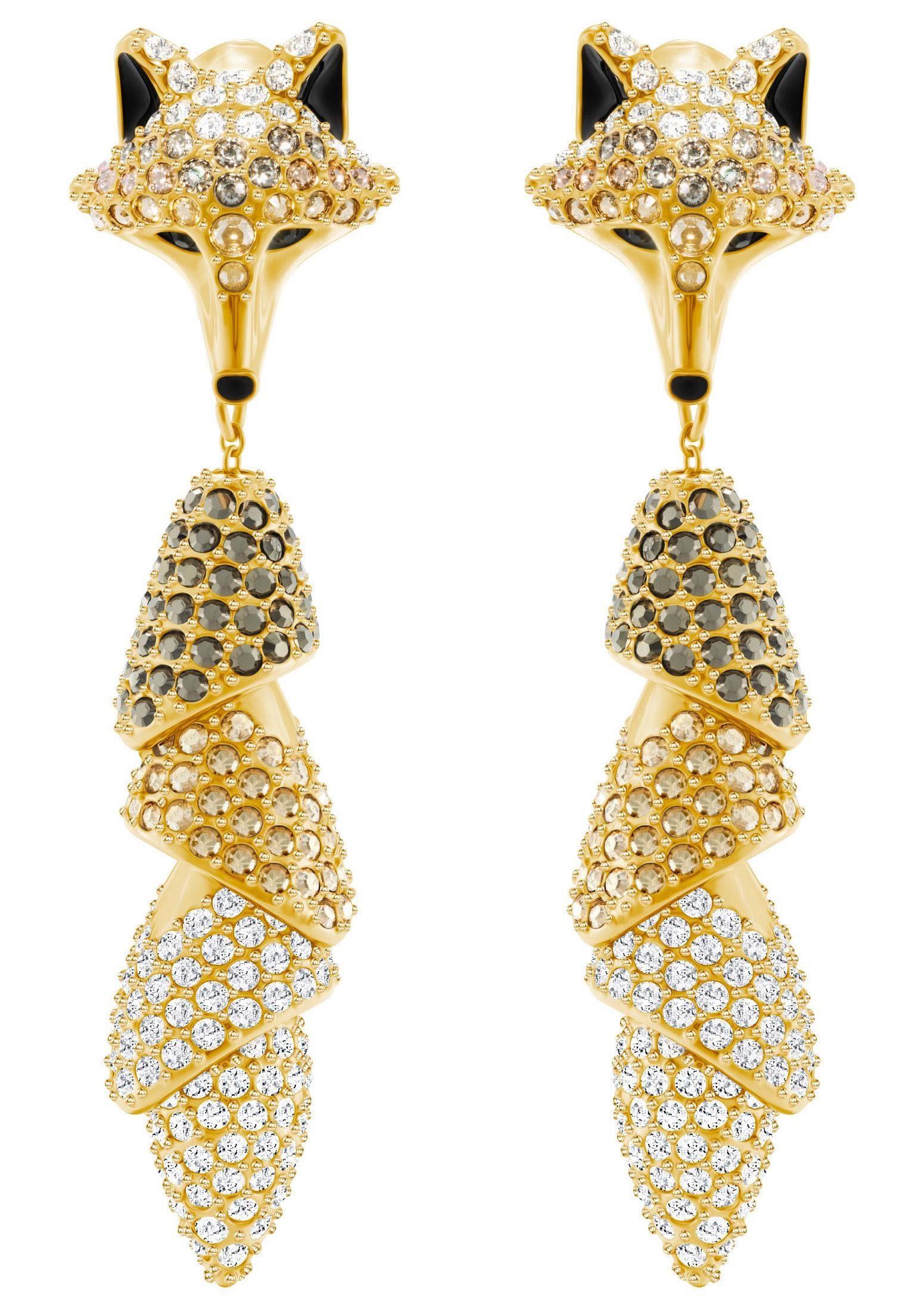 Swarovski Paar Ohrstecker »March Fox Ohrringe, mehrfarbig, vergoldet, 5409357« mit Swarovski® Kristallen und abnehmbaren Einhängern