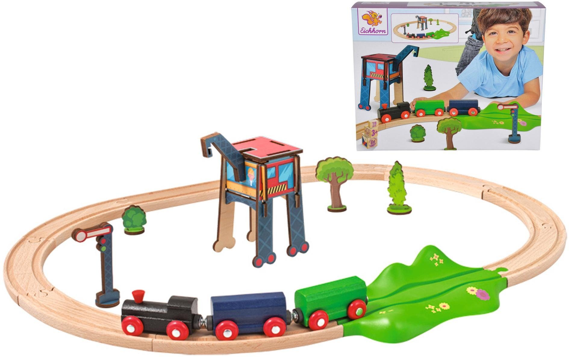 Eichhorn Schienenbahnset aus Holz, »Bahnset oval, 18-tlg.«