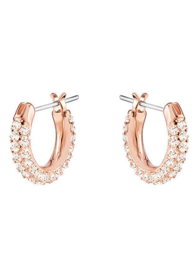Swarovski Paar Creolen »Stone, klein, rosa, rosé Vergoldung, 5446008«, mit Swarovski® Kristallen
