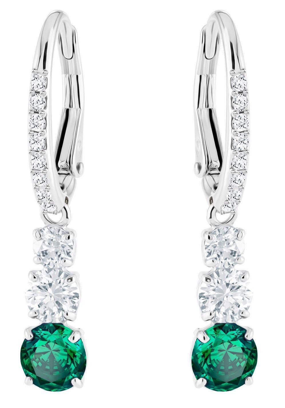 Swarovski Paar Ohrhänger »Attract Trilogy Round Ohrringe, grün, rhodiniert, 5414682« mit Swarovski® Kristallen