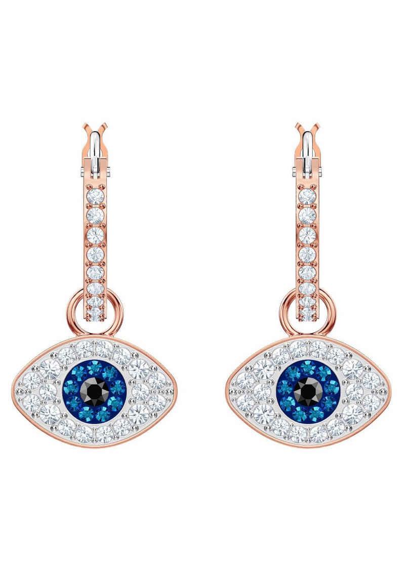 Swarovski Paar Creolen »Duo Evil Eye, mehrfarbig, rosé Vergoldung, 5425857«, mit Swarovski® Kristallen und abnehmbaren Einhängern