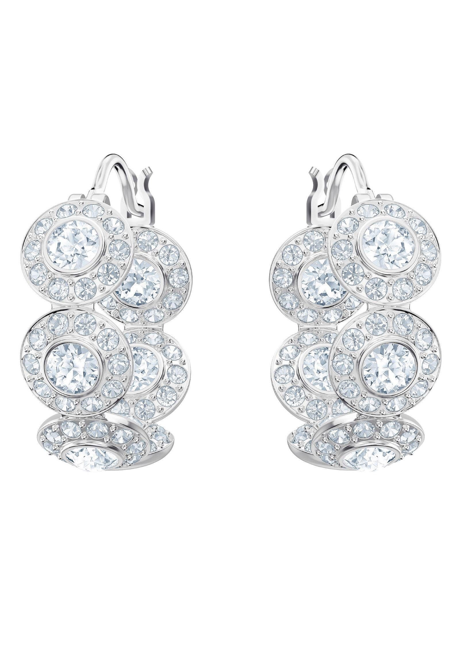 Swarovski Paar Creolen »Angelic Kreolen, weiss, rhodiniert, 5418269« mit Swarovski® Kristallen