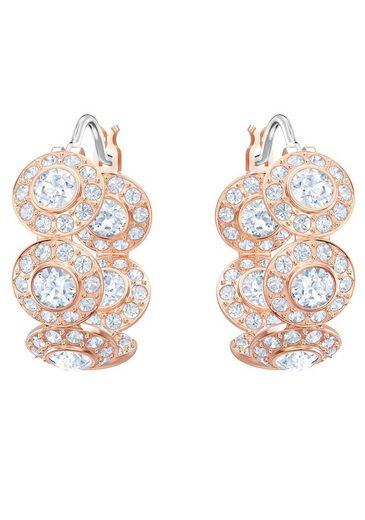 Swarovski Paar Creolen »Angelic, weiss, rosé Vergoldung, 5418271« mit Swarovski® Kristallen
