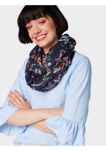 Damen Tom Tailor Denim Loop Schlauchschal mit Blumenmuster blau | 04060868214953