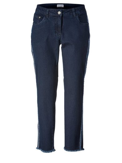 Angel of Style by Happy Size Slim Fit Jeans knöchellang mit Fransensaum