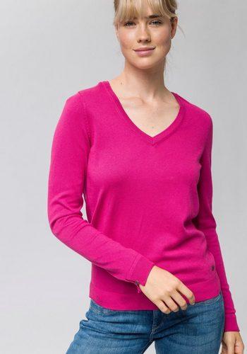 Damen edc by Esprit Strickpullover mit Knopfverschluss am Ärmelabschluss rosa | 04060469489804