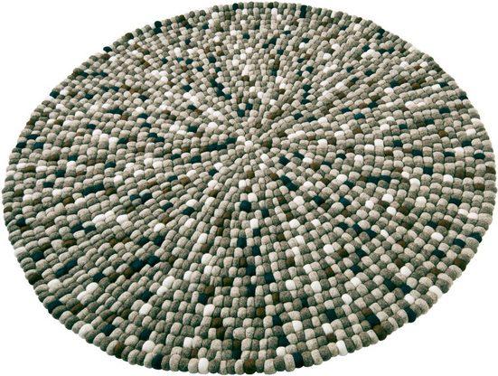 Wollteppich »Maja«, Home affaire, rund, Höhe 22 mm, reine Wolle, Filzkugel-Teppich, Wohnzimmer