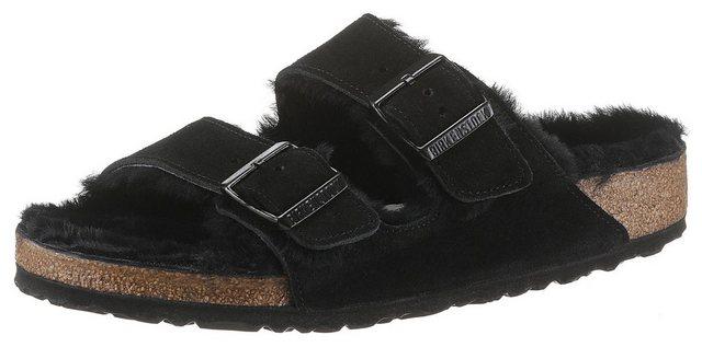 Damen Birkenstock ARIZONA Pantolette mit Schurwollfutter in normaler Schuhweite schwarz | 04052001539047
