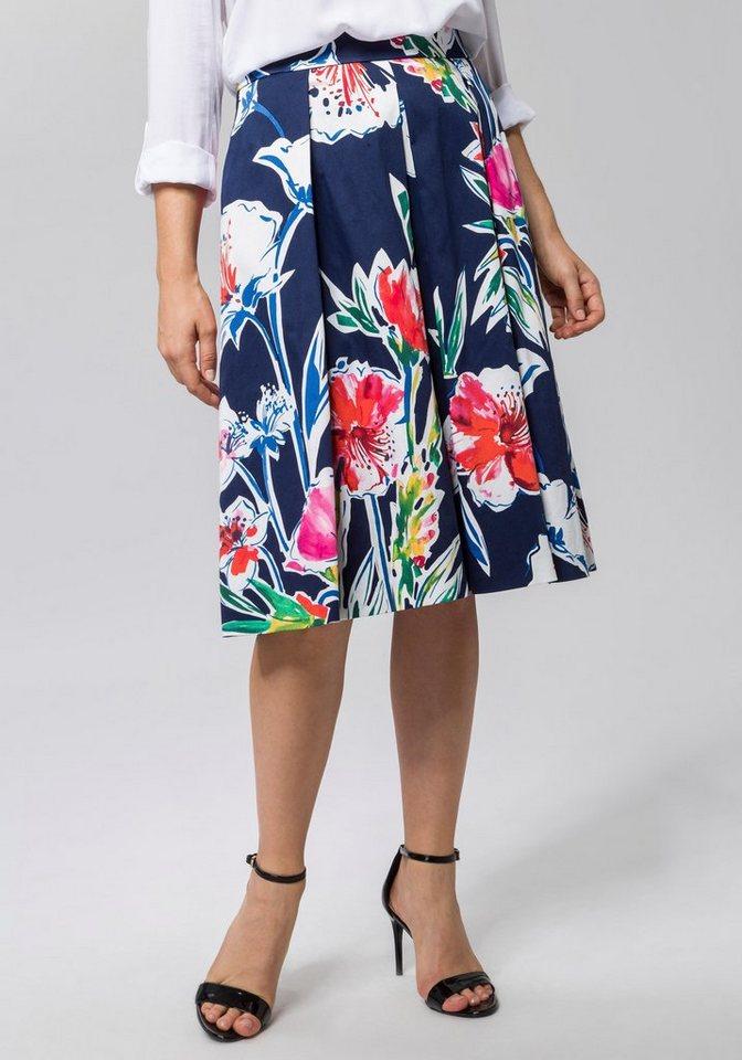 Esprit Collection Faltenrock (1-tlg) mit Falten und floralen Elementen | Bekleidung > Röcke > Faltenröcke | Blau | Esprit Collection