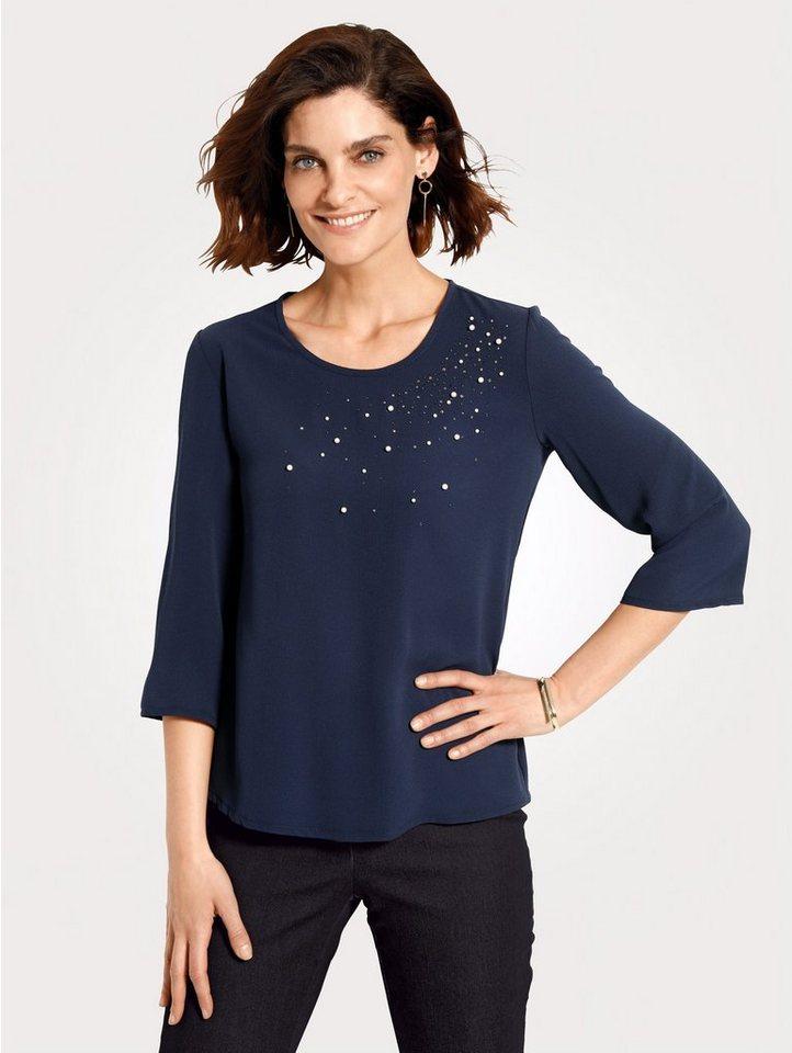 Damen Mona Schlupfbluse mit dekorativer Perlenzier blau   04055717231878