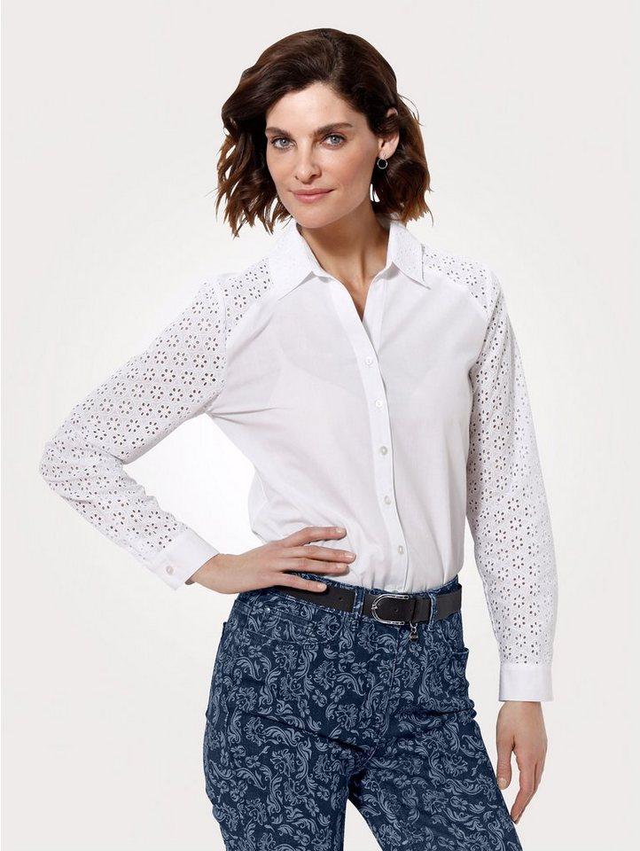 Damen Mona Bluse mit Lochstickerei weiß   04055717200263