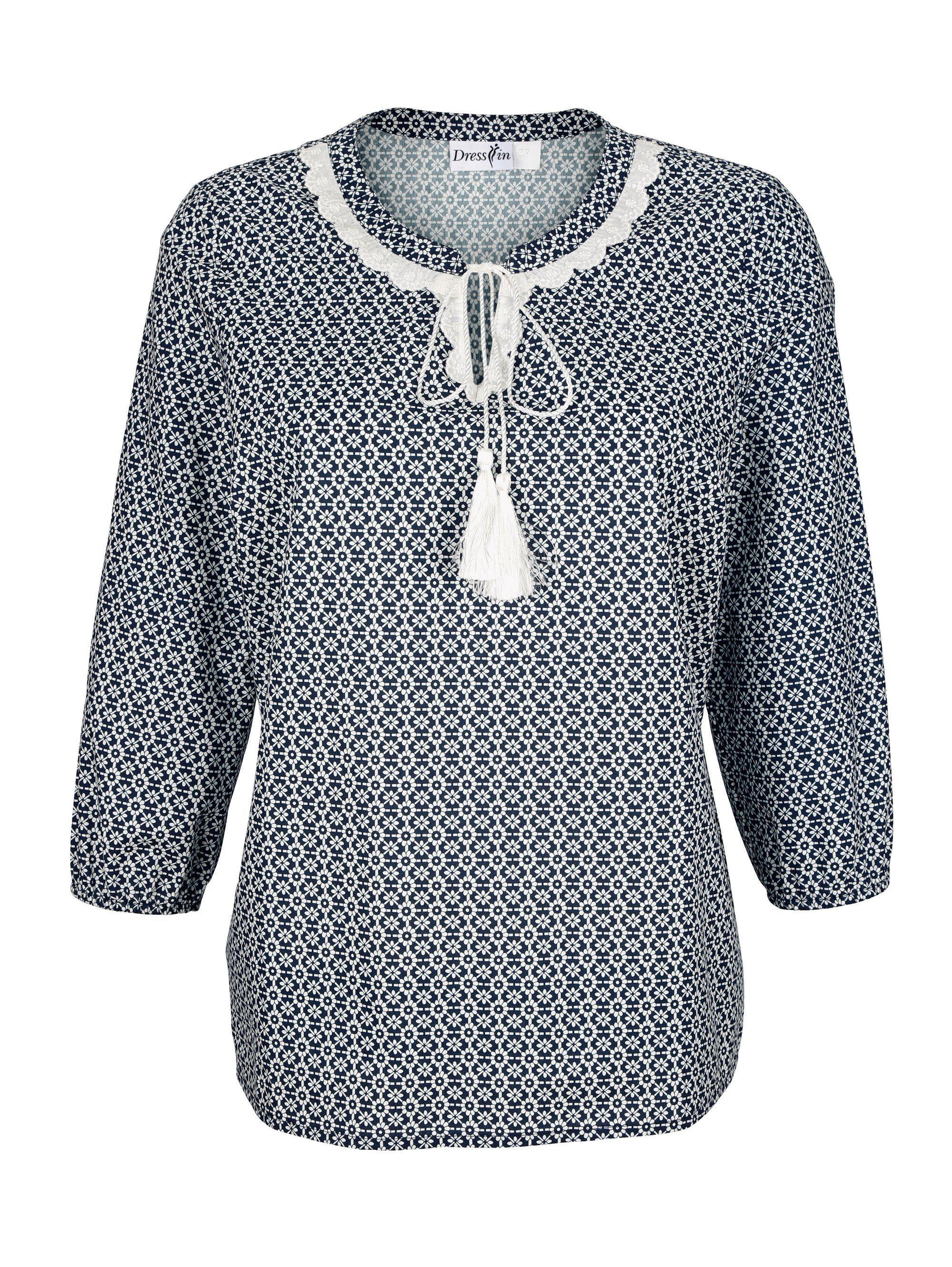 Dress In Tunika mit Spitzendekoration am Ausschnitt | Bekleidung > Tuniken > Sonstige Tuniken | Muster | Baumwolle | Dress In