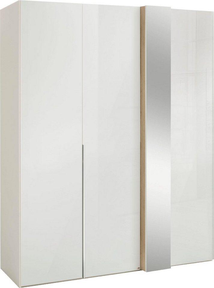 set one by Musterring Drehtürenschrank fontana in Weißglas mit Dekorfront und Spiegel in 3 Breiten weiß | 04060714346968
