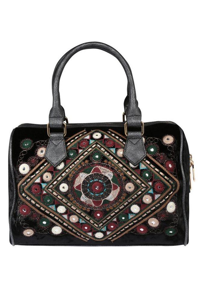er piu Bowlingtasche mit auffälligen Mustern   Taschen > Handtaschen > Bowlingtaschen   Schwarz   Polyester   er piu