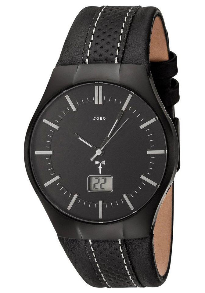 JOBO Funkuhr mit Lederband   Uhren > Funkuhren   Schwarz   JOBO