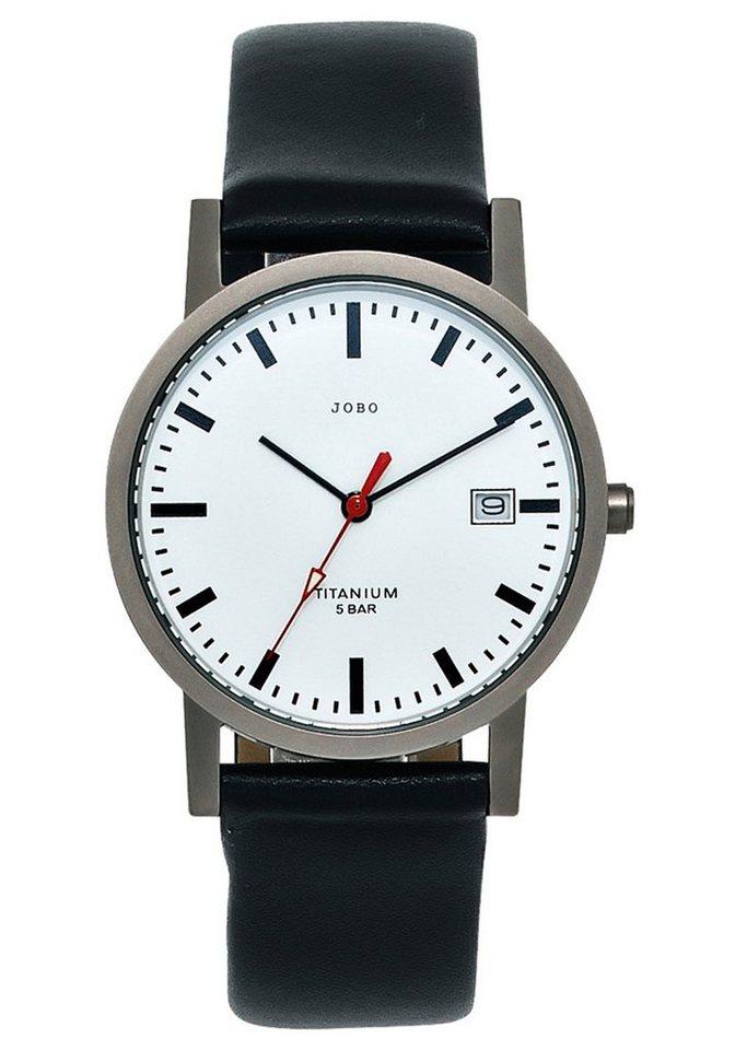 JOBO Titanuhr mit Lederband | Uhren > Titanuhren | Schwarz | JOBO