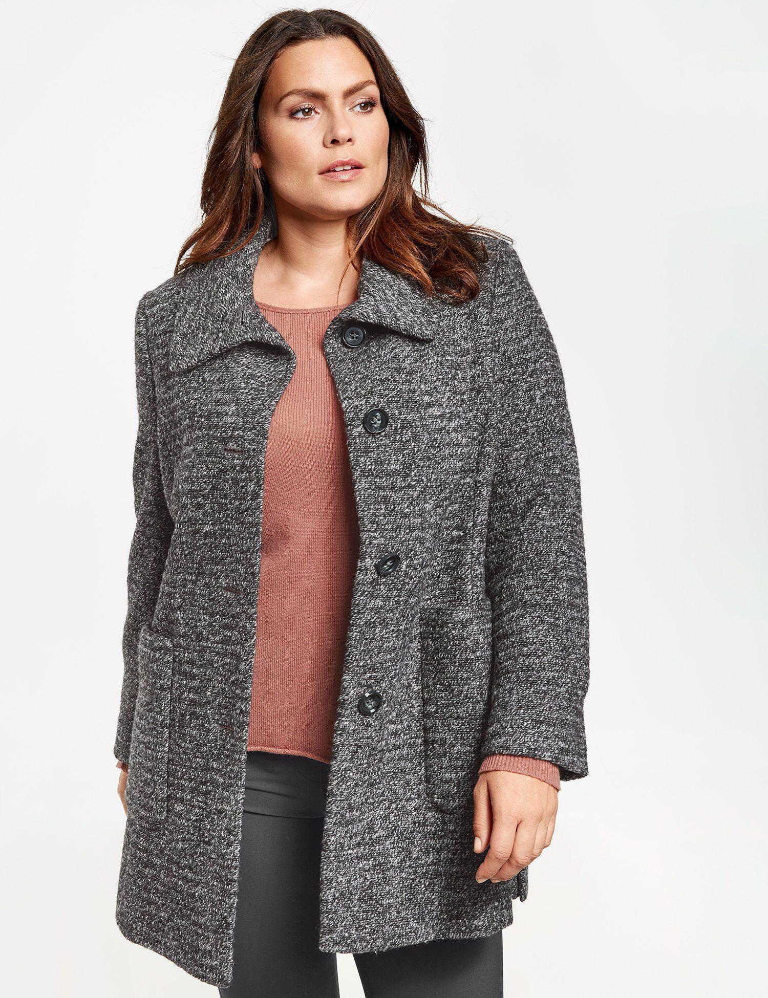 SAMOON Mantel »Flauschige Jacke mit Streifen-Struktur«