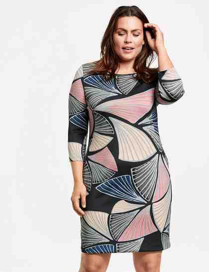 SAMOON Kleid Langarm kurz »Scuba -Kleid mit Print«