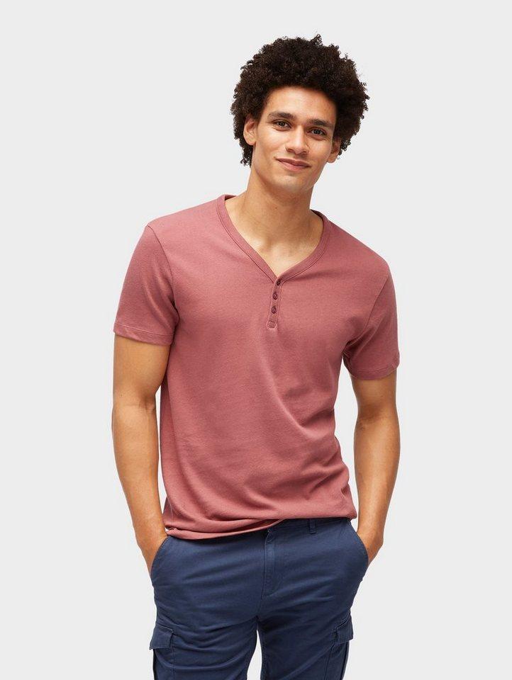 Herren TOM TAILOR Denim  T-Shirt T-Shirt mit kurzer Knopfleiste rot | 04060868154013