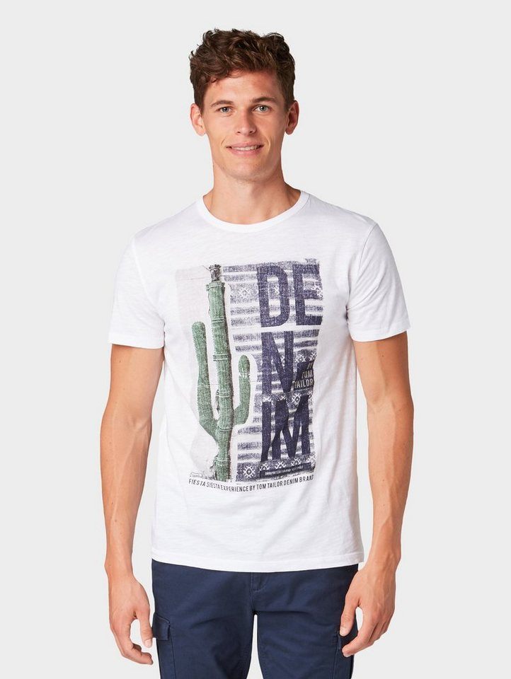 Tom Tailor Denim T-Shirt »T-Shirt mit Foto-Print« | Bekleidung > Shirts > Sonstige Shirts | Weiß | Tom Tailor Denim