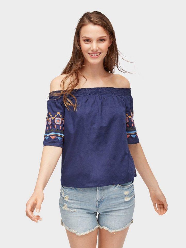 Damen Tom Tailor Denim  Carmenbluse Off-Shoulder Bluse mit Stickereien blau | 04060868160939