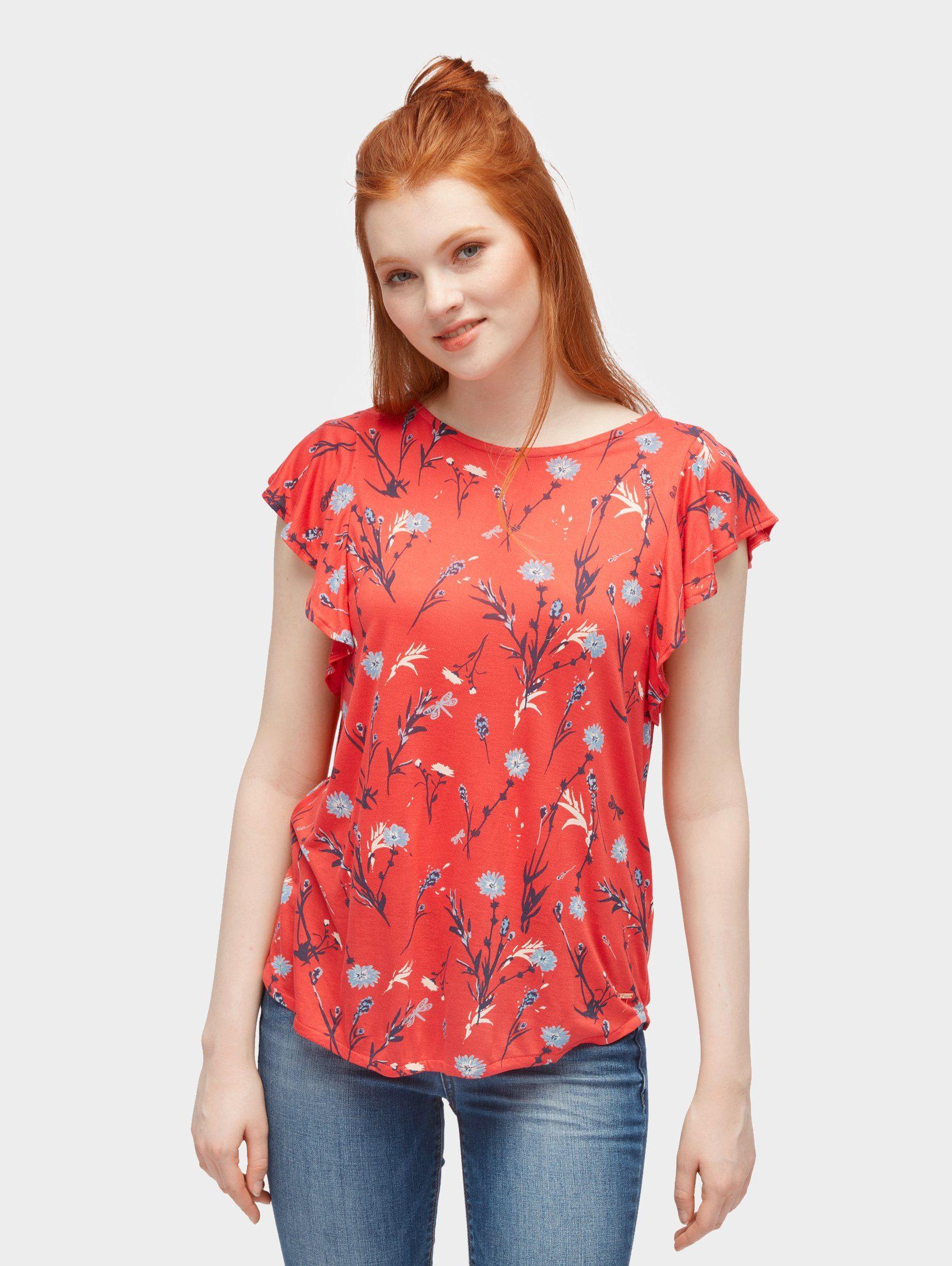 TOM TAILOR Denim T-Shirt »T-Shirt mit floralem Muster und Rüschen«