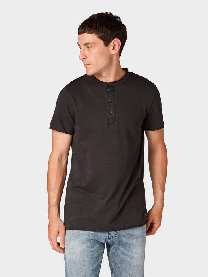 Herren TOM TAILOR Denim  T-Shirt T-Shirt mit Knopfleiste schwarz | 04060868311225