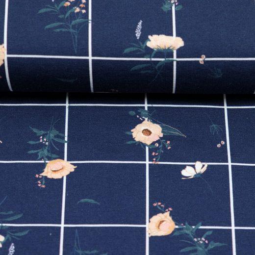 larissastoffe Stoff »French Terry, Sweat Stoff Blumen kariert, Swafing«, Stoffe zum Nähen, Meterware, 50 cm x volle Breite