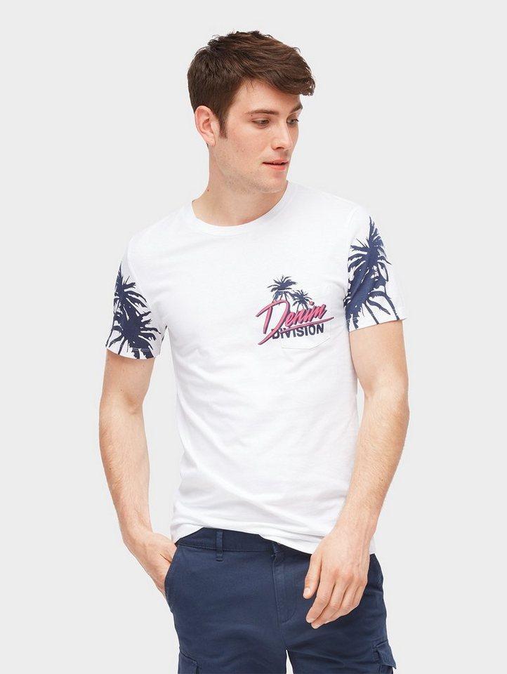 Herren TOM TAILOR Denim  T-Shirt T-Shirt mit dezentem Palmen-Print weiß | 04060868067481