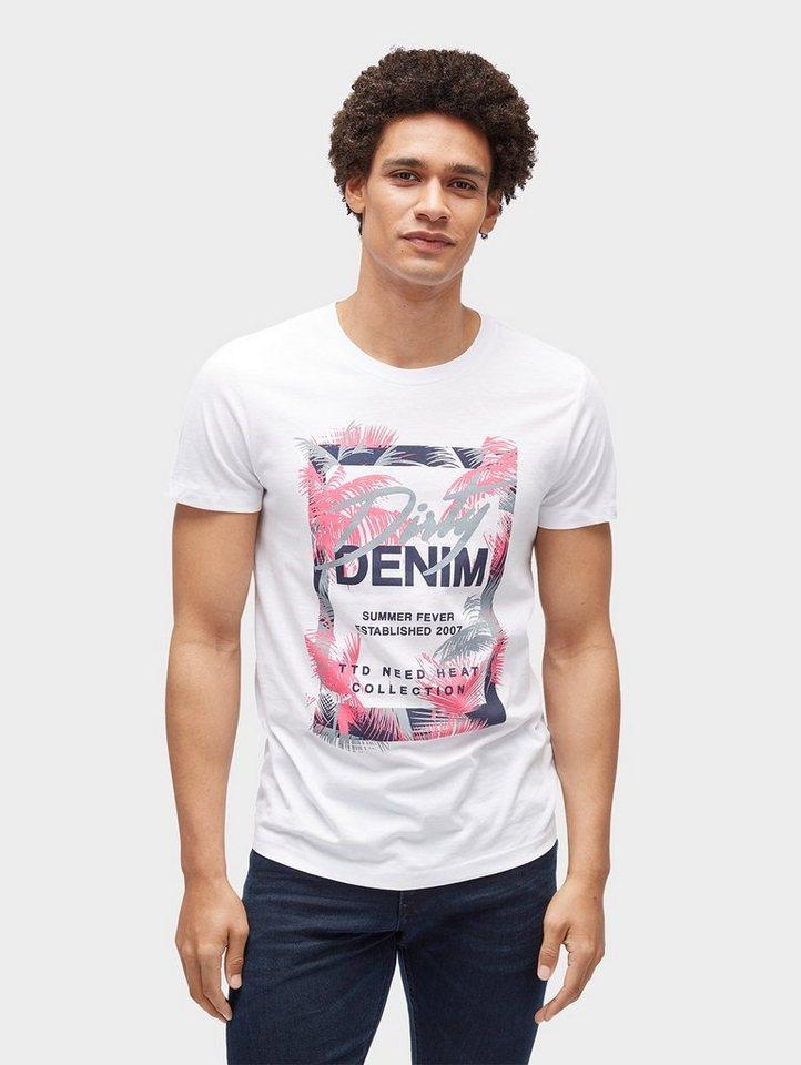 Herren TOM TAILOR Denim  T-Shirt T-Shirt mit Blumenmuster weiß | 04060868089605