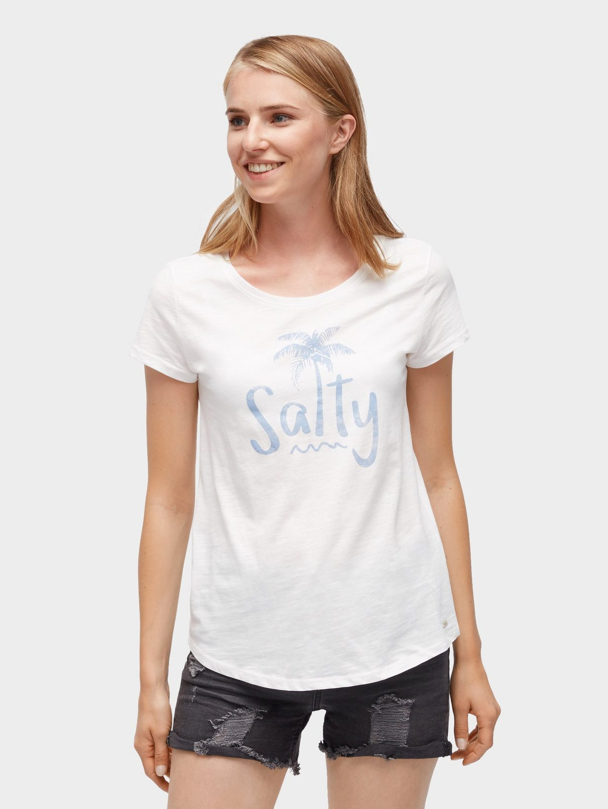 Tom Tailor Denim T-Shirt »T-Shirt mit Schrift-Print«