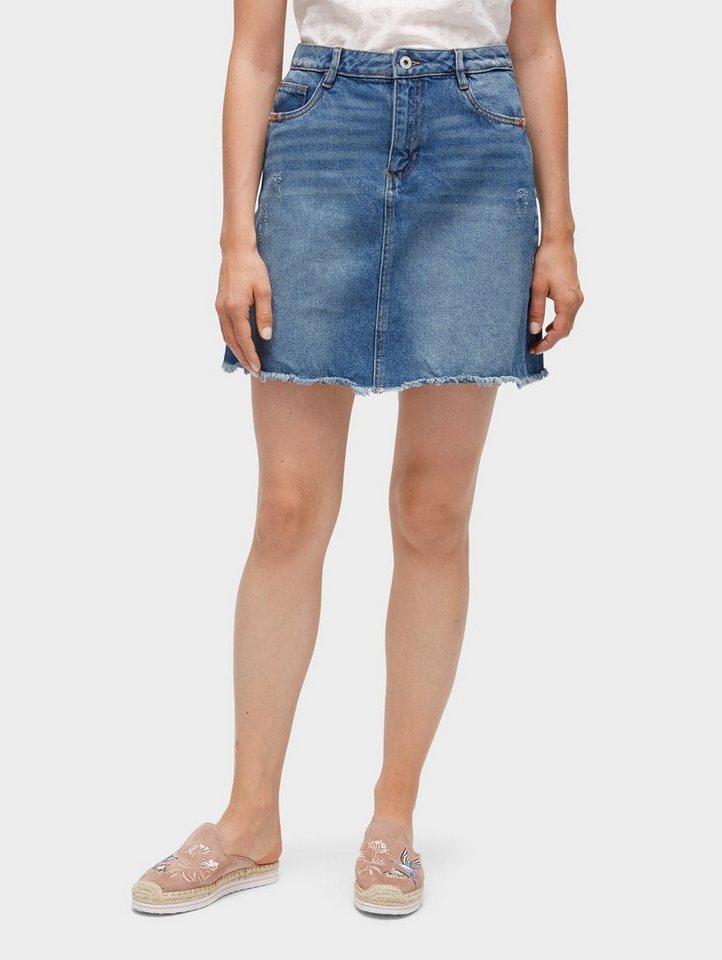 tom tailor denim jeansrock jeans rock mit fransen online. Black Bedroom Furniture Sets. Home Design Ideas