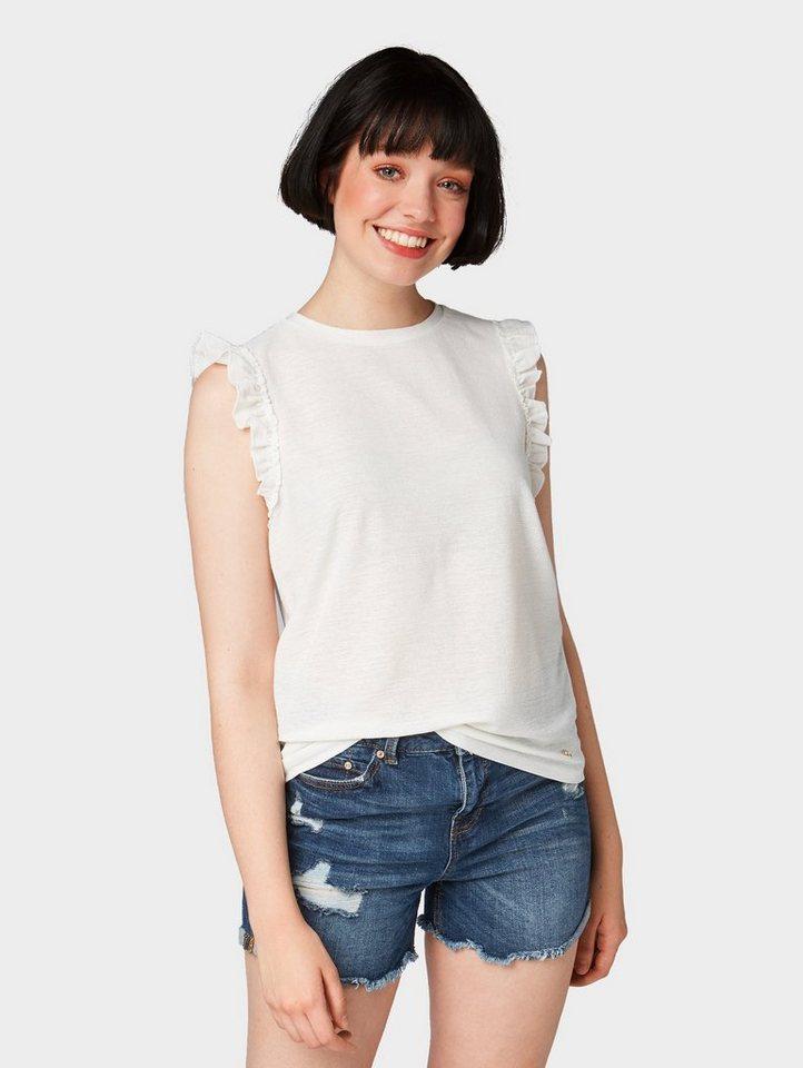 Damen TOM TAILOR Denim  T-Shirt Top mit Rüschen weiß   04060868231134