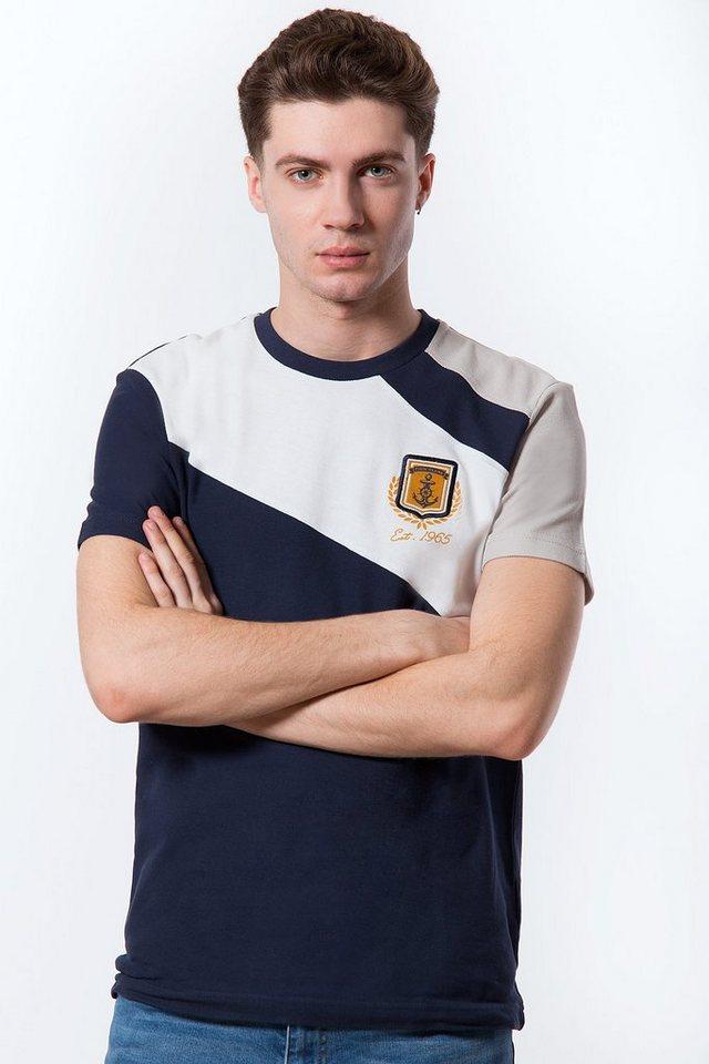 Herren Finn Flare T-Shirt mit sportlichem Design blau | 06438157295385