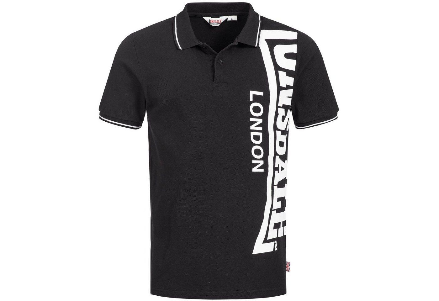 Herren Lonsdale Poloshirt mit Label-Print BAUGHURST schwarz | 04250819194971