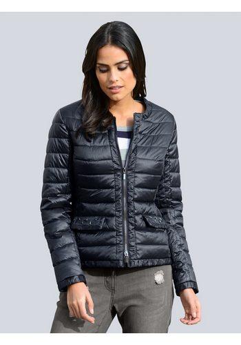 Damen Alba Moda Jacke mit modischen Blende in Kräuseloptik blau | 04055717303001