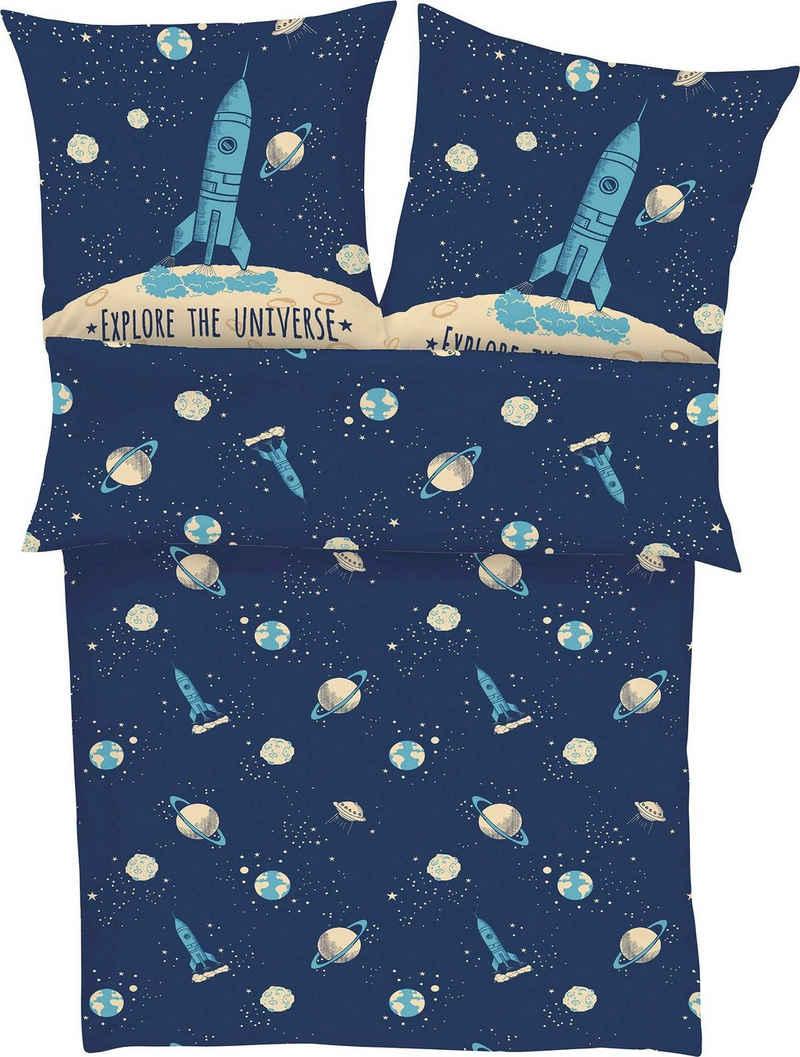 Kinderbettwäsche »Explore the Universe«, s.Oliver Junior, mit Weltraum Motiv