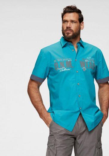Man's World Kurzarmhemd mit Chambray-Einsätzen
