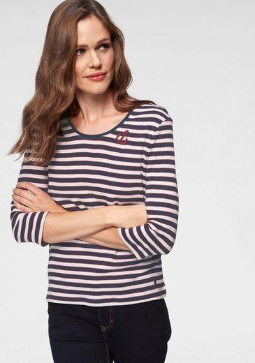 Olsen Rundhalsshirt gestreift mit kleiner Anker-Applikation