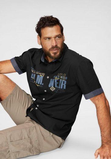 Schlussverkauf Man's World Kurzarmhemd mit Chambray-Einsätzen