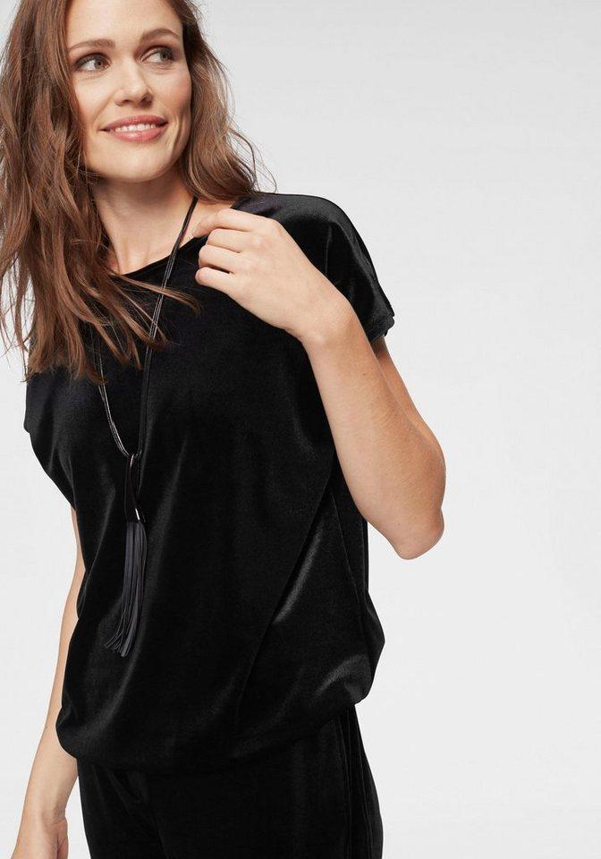 bianca Ballonshirt »JONI« hinten mit kleinem V-Ausschnitt und Chiffon-Schleife | Bekleidung > Shirts > Ballonshirts | Schwarz | Chiffon | bianca