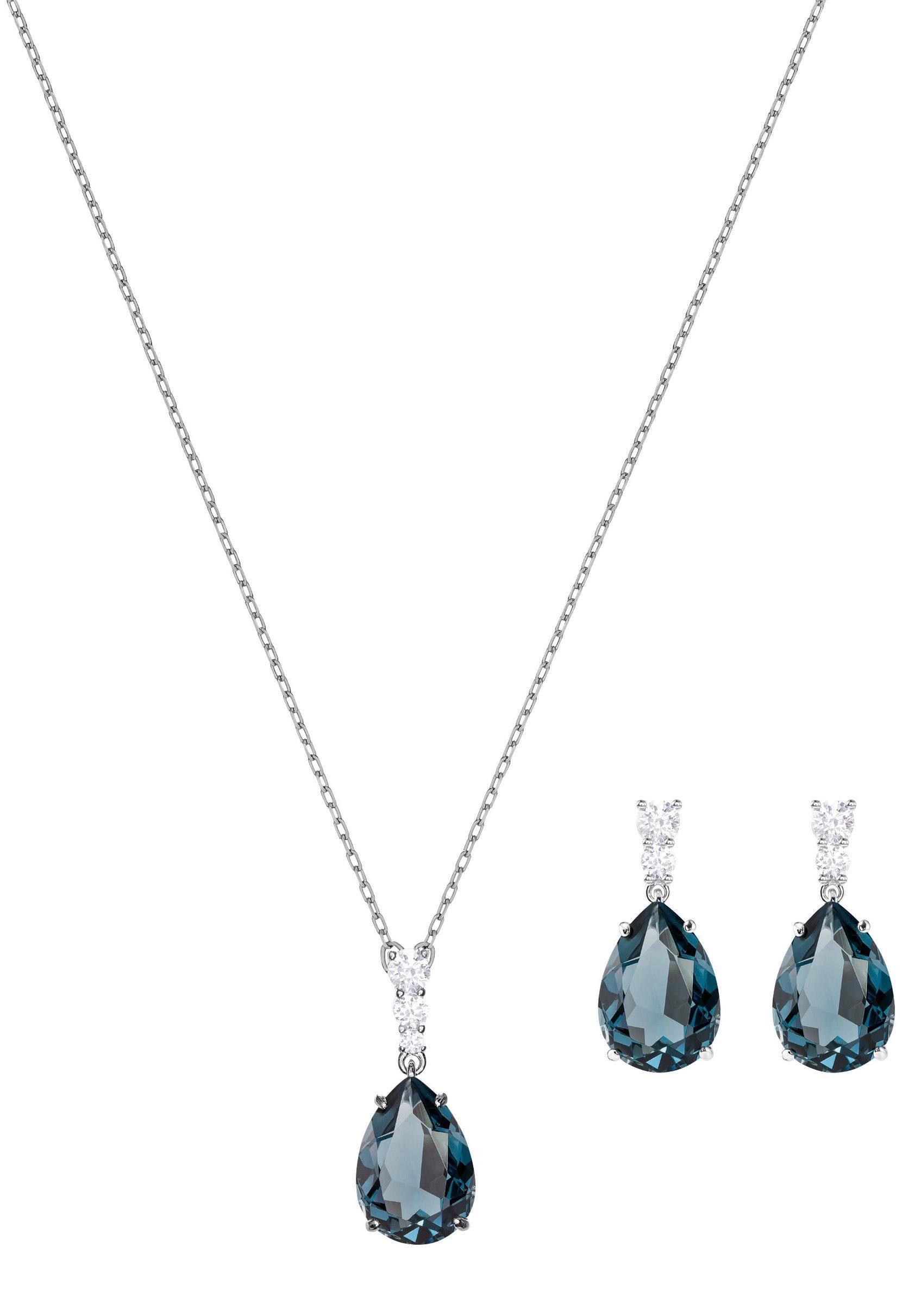 Swarovski Schmuckset »Vintage, grünblau, rhodiniert, 5421820« (Set, 3 tlg) mit Swarovski® Kristallen