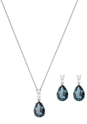 Swarovski Schmuckset »Vintage, grünblau, rhodiniert, 5421820« (Set, 3-tlg), mit Swarovski® Kristallen