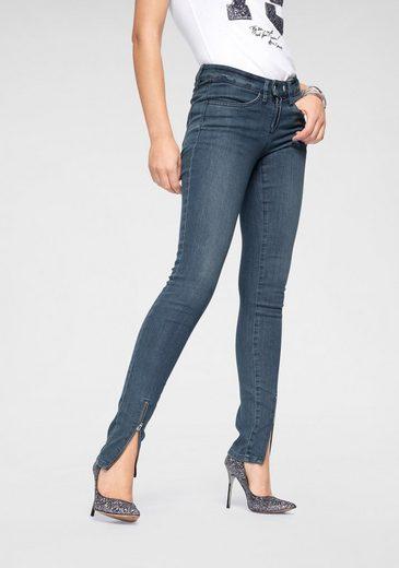 Arizona Skinny-fit-Jeans »mit sichtbaren Reißverschlüssen« Mid Waist