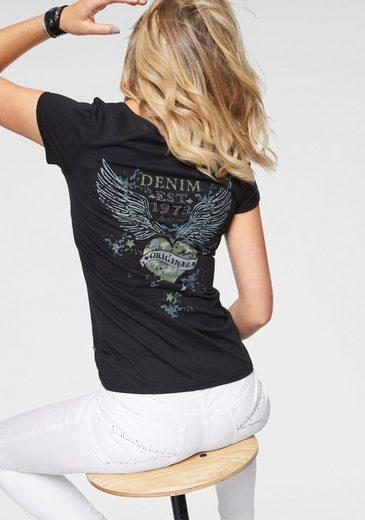 Arizona V-Shirt »Rückenprint mit Straßsteinen«