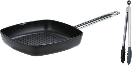 GSW Grillpfanne »Gastro traditionell«, Aluminiumguss, 28x28 cm, incl. Multizange 30 cm, Induktion