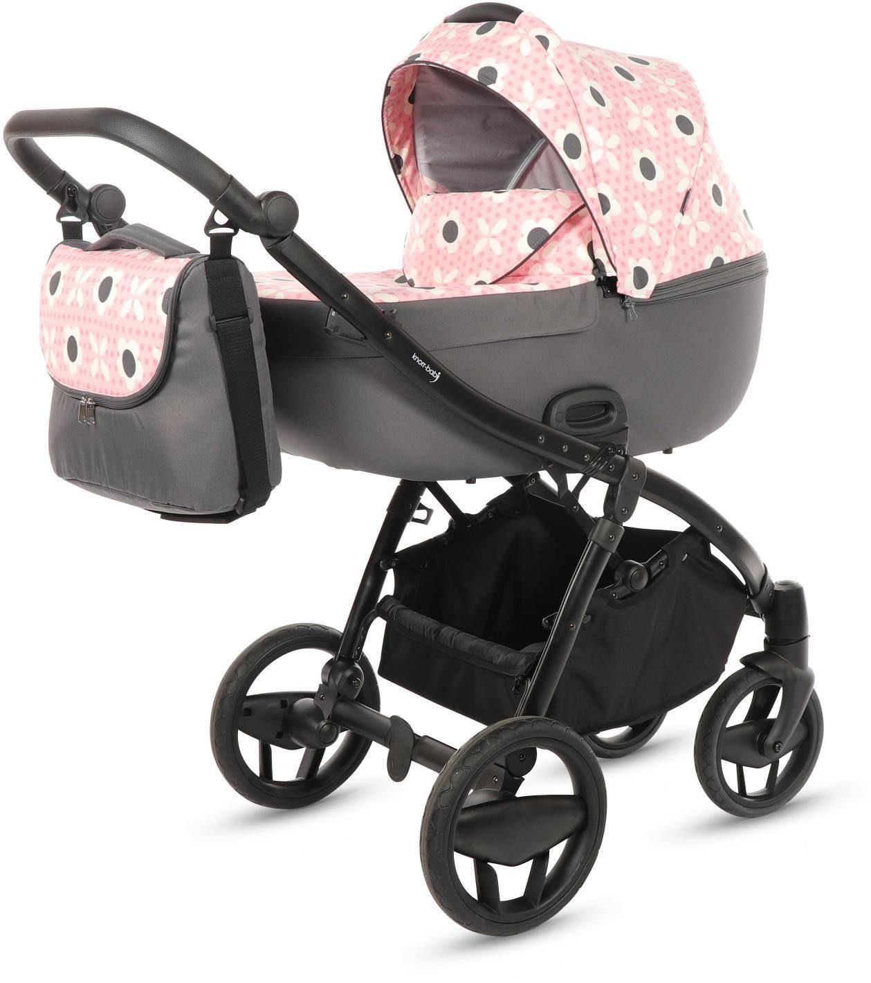 knorr-baby Kombi-Kinderwagen Set, »Piquetto Limited Edition Flower, pink-grau«