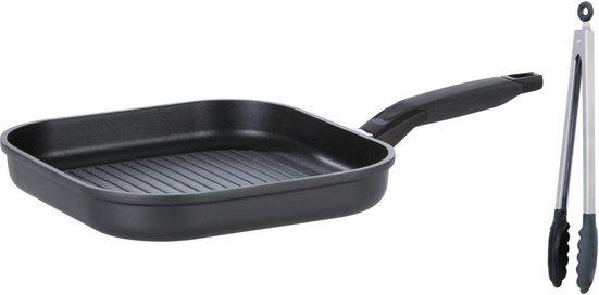 GSW Grillpfanne »SilicoGuss noir«, Aluminiumguss, 28x28 cm, incl. Multizange, Induktion