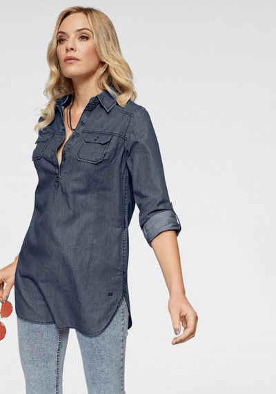 Arizona Jeansbluse »Krempelärmel mit Riegel« im Tunikastil fd655287d1